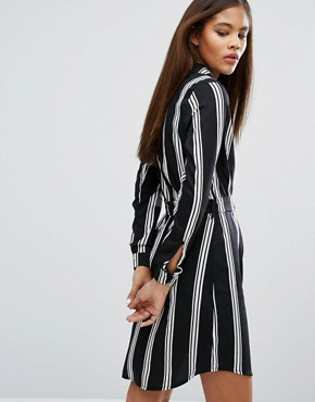 photo Shirt Dress In Stripe by Influence Tall, color Black - Image 2