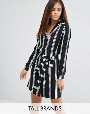 photo Shirt Dress In Stripe by Influence Tall, color Black - Image 1