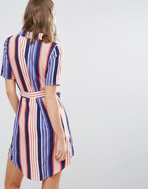 photo Shirt Dress In Stripe by Influence Tall, color Blue/Red - Image 2