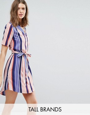 photo Shirt Dress In Stripe by Influence Tall, color Blue/Red - Image 1
