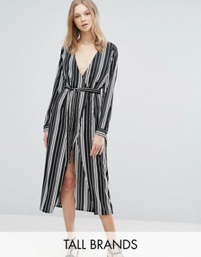 photo Midi Dress In Stripe by Influence Tall, color Black - Image 1