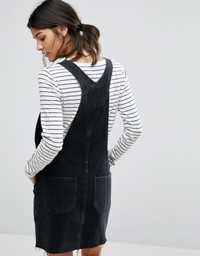 photo Denim Dungaree Dress in Washed Black by ASOS, color Black - Image 2