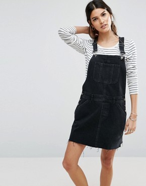 photo Denim Dungaree Dress in Washed Black by ASOS, color Black - Image 1