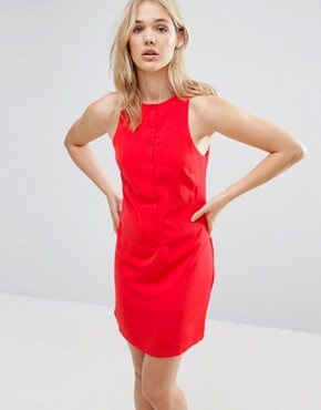 photo Button Front Dress by Neon Rose, color Red - Image 1
