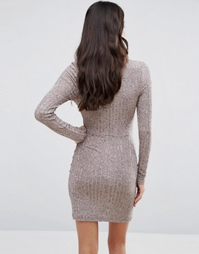 photo Choker Neck Bodycon Dress With Long Sleeves by Parisian, color Nude - Image 2