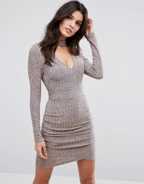 photo Choker Neck Bodycon Dress With Long Sleeves by Parisian, color Nude - Image 1