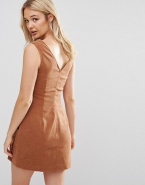 photo Suede Shift Dress with Pocket by Neon Rose, color Tan - Image 2