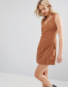 photo Suede Shift Dress with Pocket by Neon Rose, color Tan - Image 1
