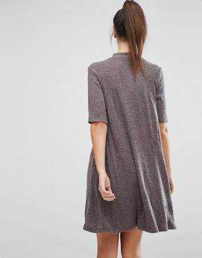photo Ribbed High Neck Swing dress by Only, color Dark Grey - Image 2