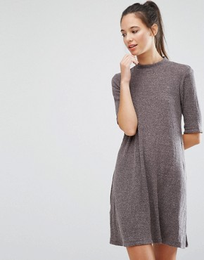 photo Ribbed High Neck Swing dress by Only, color Dark Grey - Image 1