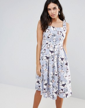 photo Floral Midi Skater Dress by Vesper, color Brittany - Image 1