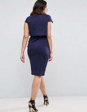 photo Crepe Fold Front T-Shirt Midi Dress by ASOS CURVE, color Navy - Image 2