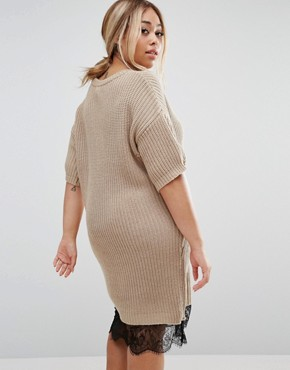 photo Jumper Dress with Lace Hem by ASOS CURVE, color Oatmeal - Image 2
