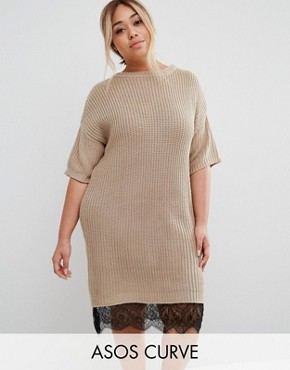 photo Jumper Dress with Lace Hem by ASOS CURVE, color Oatmeal - Image 1
