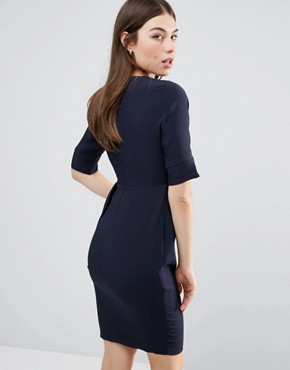 photo 3/4 Sleeve Pencil Dress With Pleat Detail by Vesper, color Navy - Image 2