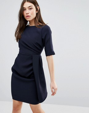 photo 3/4 Sleeve Pencil Dress With Pleat Detail by Vesper, color Navy - Image 1