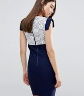 photo Mini Dress with Lace Panel and Bow Detail by Vesper, color Navy - Image 2