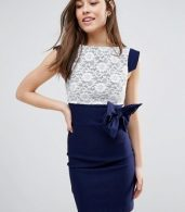 photo Mini Dress with Lace Panel and Bow Detail by Vesper, color Navy - Image 1