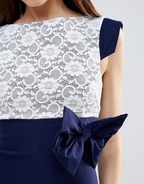 photo Mini Dress with Lace Panel and Bow Detail by Vesper, color Navy - Image 3