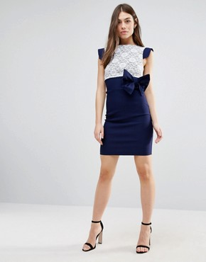 photo Mini Dress with Lace Panel and Bow Detail by Vesper, color Navy - Image 4