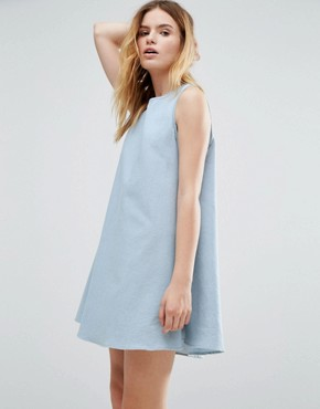 photo Japanese Tack Stitch Tent Dress by Native Youth, color Light Wash - Image 1