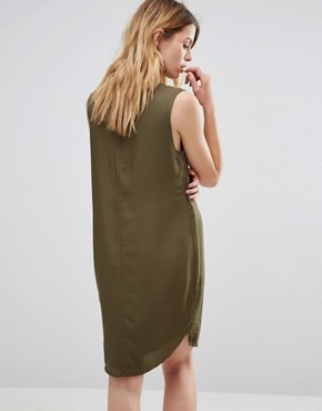 photo V Neck Cocoon Slip Dress by Native Youth, color Olive - Image 2