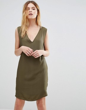 photo V Neck Cocoon Slip Dress by Native Youth, color Olive - Image 1