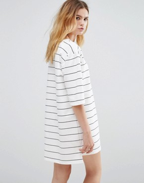 photo Broad Stripe Crew Neck Dress by Native Youth, color White - Image 2