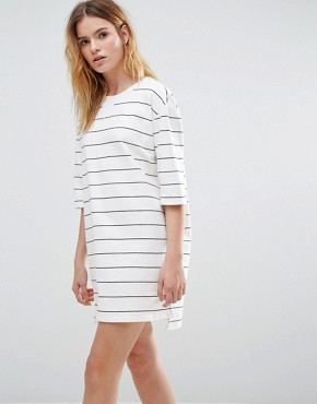 photo Broad Stripe Crew Neck Dress by Native Youth, color White - Image 1