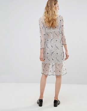 photo California Lace Long Sleeved Sheer Dress by Ganni, color Vanilla Ice - Image 2