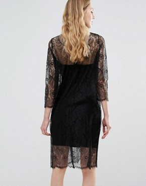 photo California Lace Long Sleeve Sheer Dress by Ganni, color Black - Image 2
