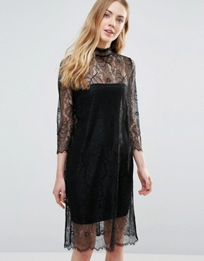 photo California Lace Long Sleeve Sheer Dress by Ganni, color Black - Image 1