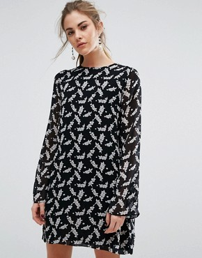 photo Seymour Georgette Holly Print Shift Dress by Ganni, color Winter Berries - Image 1