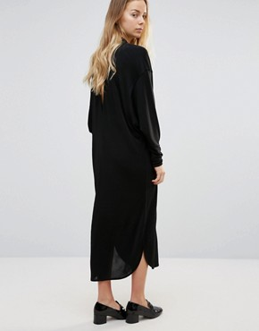 photo Doherty Cowl Front Midi Dress by Ganni, color Black - Image 2