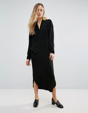 photo Doherty Cowl Front Midi Dress by Ganni, color Black - Image 1
