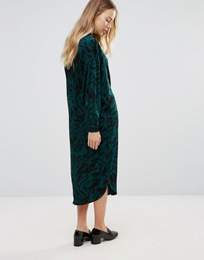 photo Doherty Cowl Front Midi Dress by Ganni, color Green Garden - Image 2