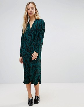 photo Doherty Cowl Front Midi Dress by Ganni, color Green Garden - Image 1