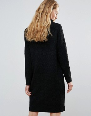 photo Perry High Neck Shift Dress by Ganni, color Black - Image 2