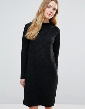 photo Perry High Neck Shift Dress by Ganni, color Black - Image 1
