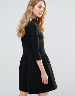 photo Perry High Neck Textured Skater Dress by Ganni, color Black - Image 2