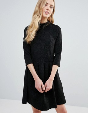 photo Perry High Neck Textured Skater Dress by Ganni, color Black - Image 1