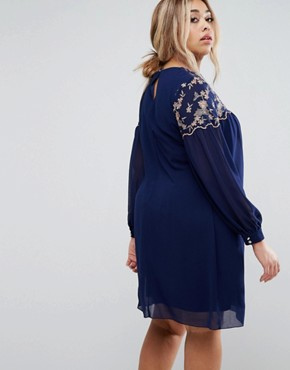 photo Floral Embroidered Shift Dress by Little Mistress Plus, color Navy - Image 2