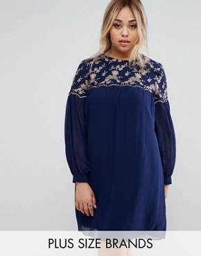 photo Floral Embroidered Shift Dress by Little Mistress Plus, color Navy - Image 1