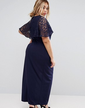photo Wrap Front Maxi Dress with Lace Sleeves by Little Mistress Plus, color Navy - Image 2
