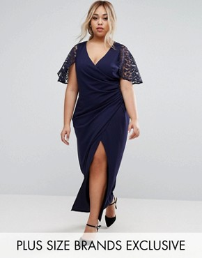 photo Wrap Front Maxi Dress with Lace Sleeves by Little Mistress Plus, color Navy - Image 1