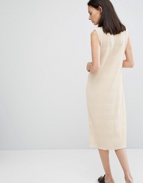 photo Hall Pleat Midi Dress in Ivory by Ganni, color Ivory Cream - Image 2