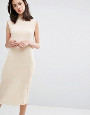 photo Hall Pleat Midi Dress in Ivory by Ganni, color Ivory Cream - Image 1