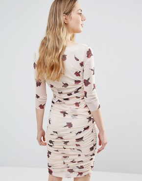 photo Silverstone Mesh Ruched Carnation Print Bodycon Dress by Ganni, color Red Carnation Flower - Image 2