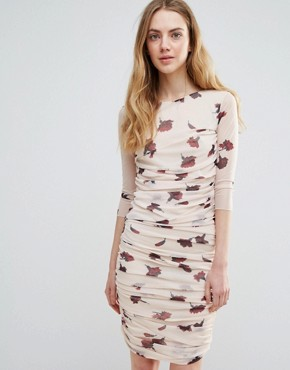 photo Silverstone Mesh Ruched Carnation Print Bodycon Dress by Ganni, color Red Carnation Flower - Image 1