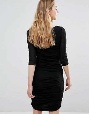 photo Silverstone Mesh Ruched Bodycon Dress by Ganni, color Black - Image 2